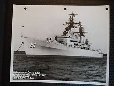 Vintage B&W Photo USS Belknap (DLG-26) Quartering Bow View Maine 1964 Navy Ship