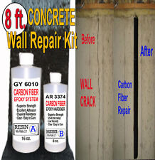 8 FT - CONCRETE BASEMENT WALL REPAIR KIT ~ ( Carbon Fiber & Epoxy/Hardener)-