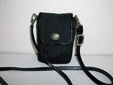 Brighton Black Nylon Microfiber & Leather Cell Phone Bag Case Crossbody Strap