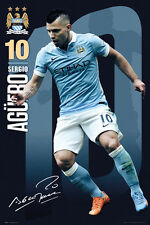 Sergio Aguero SIGNATURE SERIES Manchester City Action EPL Soccer POSTER