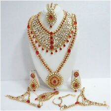 New Indian Bollywood Fashion Ethnic Wedding Bridal Gold Plated 9 PCS Jewelry Set