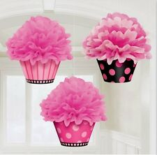 Deluxe Fluffy Cupcake Hanging Decorations (Package of 3) - 180007