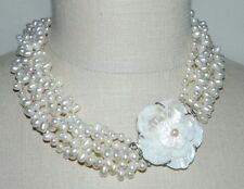 VTG Silver Tone Mother of Pearl Carved Flower Clasp Cluster Glass Pearl Choker