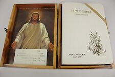Vintage 1975 Holy Bible Prince of Peace Protestant Ed. Wooden Box Concordance