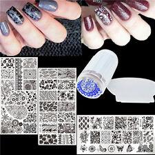 Nagel Kunst 3x Stamping Platte Schablone Blumen Muster & Jelly Stempel Set