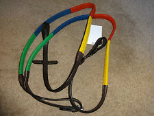 MULTI COLOURED RUBBER GRIP TRAINING REINS HAVANA BROWN LEATHER COB FULL