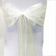 "200 Organza Chair Cover Sash Bows 8""x108"" 30 Colors Extra Wide Wedding Party"