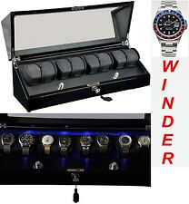 Luxury Display Automatic Watch Winder for 8 watches-model: Galaxy-8BKCF-LED