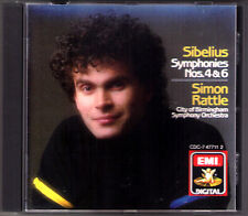 Simon RATTLE: SIBELIUS Symphony No.4 & 6 EMI CD 1988 Sinfonie City of Birmingham
