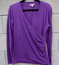 CAbi Purple Plum Long Sleeve Plunge Ruched Stretch Crossover Blouse Sz L Casual