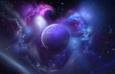 Framed Print - New World Purple Planet (Picture Poster Art Space Moon Earth)