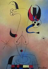 Unique tempera and ink painting on paper, surreal composition, signed Joan MIRÓ