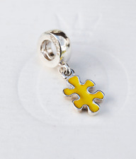 Genuine Pandora Dangle Charm Jigsaw Puzzle Piece Yellow 790486EN06 retired