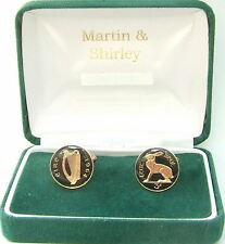 1964 Old IRISH 3D cufflinks real coins in BLACK & GOLD