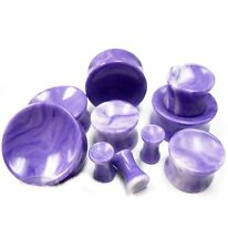 "PAIR-Stone Agate Purple Concave Double Flare Plugs 16mm/5/8"" Gauge Body Jewelry"