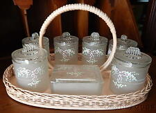 Vintage 8pc Vanity Set Painted Flowers Bows Glass Jars Pink Shabby Chic Basket