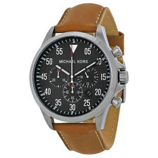 Michael Kors Gage Chronograph Black Dial Tan Leather Mens Watch MK8333