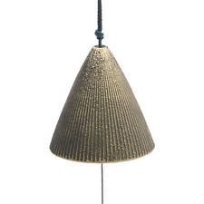 "Japanese 2""H Wind-Chime Furin Gold Ribbed Cone Shape Bell Cast Iron/Made Japan"