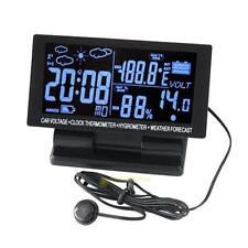 Auto LCD Digital Clock Car Voltmeter F/C Thermometer Hygrometer Weather Forecast