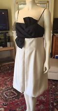 Ladies cocktail Evening Dress Size 14 Cream With A Black Type Bow Feature