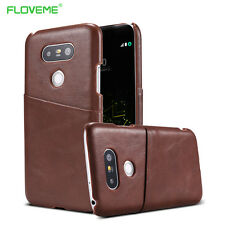 Ultra slim vintage noble leather card insert slots back cover case for lg g5