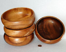 Vintage wooden bowls set of 4 for nuts fruit salad c 1970s Philippines wood