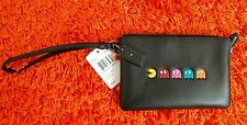 Coach X PAC-MAN and Ghosts Wristlet Bag in Calf Black Leather Limited Edition