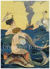 MERMAIDS AT SEA 1880 Vintage Illustration Reproduction CANVAS ART PRINT 24x32 in