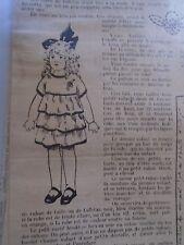 """PATRON ORIGINAL  POUPEE """" BLEUETTE """" ROBE DE TAFFETAS BRODEE  MARS 1921"""