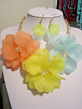 Multi Color Acrylic Flower Clear Faceted Glass Bead Chunky Necklace earring
