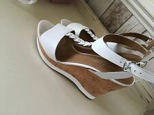 Real White Leather Wedge Heel Shoes Sandals Wedges Size 6.5