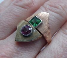 FINE HEAVY ARTS & CRAFTS 14K MULTI TONE GOLD PINK GREEN TOURMALINE VINTAGE RING