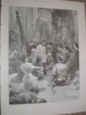 Pilgrims at the Shrine of Our Lady of the Rosary pompeii Italy 1900 old print