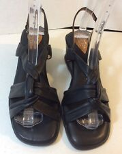 Clarks Artisan Collection black leather ankle strap wedge sandals size 8.5M