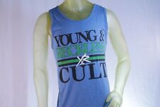 YOUNG & RECKLESS BLUE MEN TANK TOP GREEN AND BLACK LOGO size Large