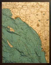 SALISH SEA, WA 24.5 x 31 New, Laser-Cut 3-Dimen Wood Chart/Lake Art Map