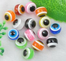 Wholesale 1000PCS Mixed Evil Eye Stripe Round Resin Spacer Beads 6MM