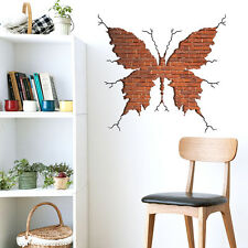 Big Size Beautiful Red Brick Butterfly Wall Sticker Home Decor Removable DIY
