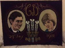 """CHARLES & DIANA 1981 AXMINSTER RUG PICTORIAL WALL HANGING 27"""" x 36"""""""
