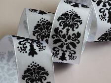 Blanc velours noir floqué motif ruban mariage gâteaux ruban couronne fil edge