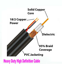 New2 100ft Premade RG59 Combo Siamese CCTV Coaxial BNC Cable too HD-SDI Camera