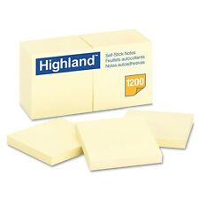 "Highland - Self-Stick Pads, 3"" x 3"", Yellow, 100 Sheets/Pad - 12 ct."