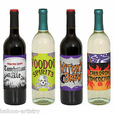 4 Assorted Witch's Brew Voodoo Spirits Halloween Party Paper Bottle Labels