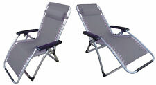 2 x ZERO GRAVITY GREY TEXTILENE DELUXE FOLDING RECLINER CHAIRS reclining sun FT