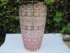 "VINTAGE BOHEMIA QUEEN LACE GOLD RUBY  24% LEAD CRYSTAL VASE 12"" NIB"