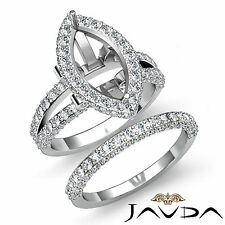 Diamond Engagement Ring Marquise Split Shank Bridal Setting Platinum 950 2.8Ct