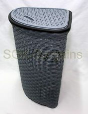 52L Large Woven Plastic Corner Laundry Bin Washing Bin Multi Storage Basket Grey