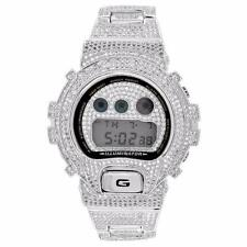 Gshock DW6900 Full Iced Out 14K Rhodium Plated Simulated Diamonds Mens Brand New
