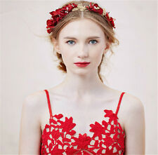 Red Flower Headband Wedding Bridal Leaf Headpiece Crown Tiara Hair Accessories V