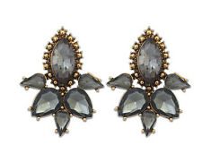 Ash Grey Crystal Big Statement Stud Earrings UK Shop